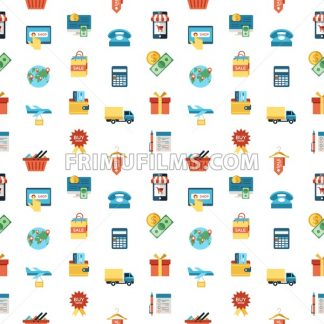 Digital vector line icons set mobile shopping and store illustration with elements for online electronic commerce, seamless pattern - frimufilms.com