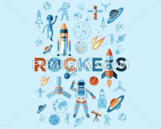 Digital vector line icons set space and rockets illustration with elements for astronomy infographics - frimufilms.com