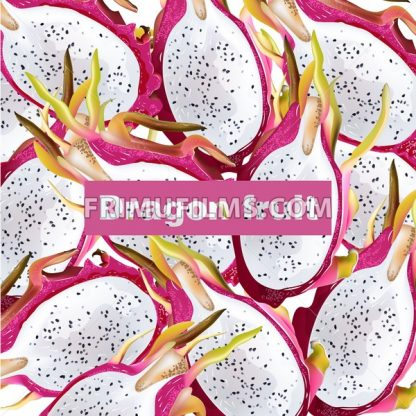 Dragon fruit pattern Vector realistic. Summer tropic pitaya healthy fruits background - frimufilms.com