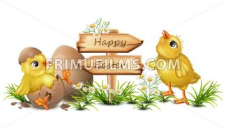 Easter card with cute Chicken Vector. cracked eggs, wooden sign, place for text - frimufilms.com