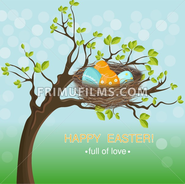Easter holiday card with Eggs nest Vector. Spring background - frimufilms.com