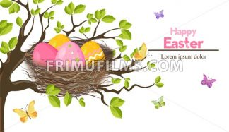 Easter holiday card with Eggs nest Vector. Spring theme - frimufilms.com