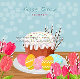 Easter holiday card with eggs and sweet bread Vector illustration - frimufilms.com