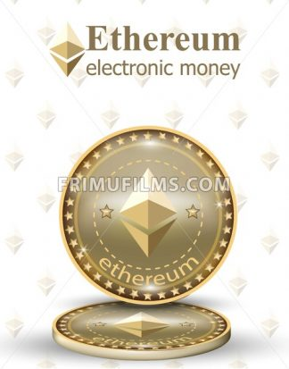 Ethereum coin Vector digital cryptocurrency. Business commerce money chains - frimufilms.com