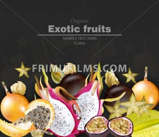 Exotic fruits banner Vector realistic. Dragon fruit, granadilla, passion fruits, starfruit, physalis black background - frimufilms.com