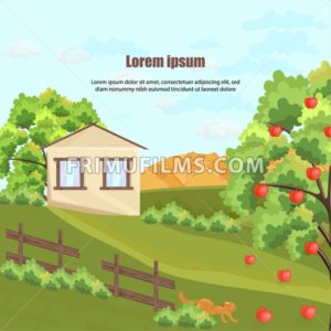 Farm house Vector. Apple tree and grass. Nature beautiful green yard background - frimufilms.com