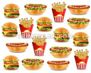 Fast food pattern with burger, hot dog, and french fries. Vector realistic 3d illustration - frimufilms.com