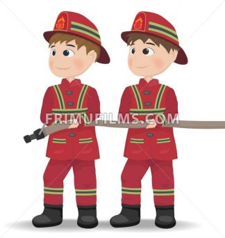 Firemen Vector. Cartoon character equiped. Template illustrations - frimufilms.com