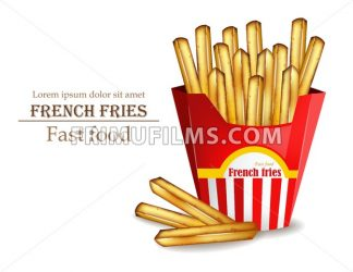 French fries Vector realistic. Fast food template. Detailed 3d illustration - frimufilms.com