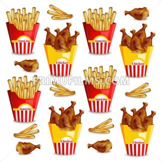 French fries and chicken wings Vector realistic. Fast food pattern - frimufilms.com