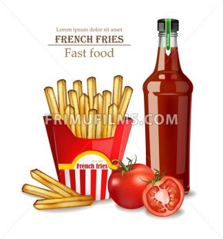 French fries and ketchup bottle Vector realistic illustration 3d - frimufilms.com