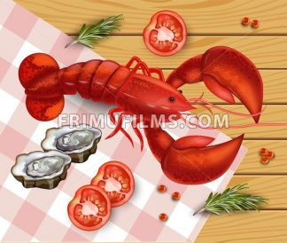 Fresh Lobster Vector. Fresh Detailed seafood 3d illustration - frimufilms.com