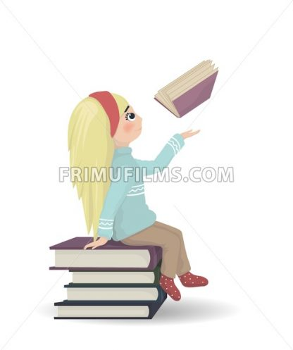 Girl seating on a bunch of books Vector. knowledge and reading symbol - frimufilms.com