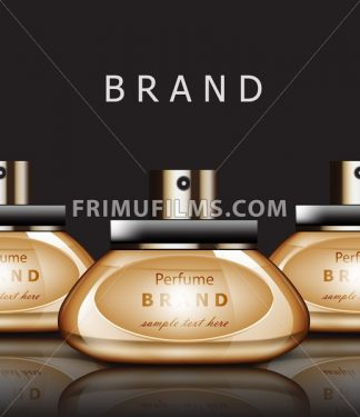 Golden Perfume realistic Vector packaging. Products label design mock up - frimufilms.com