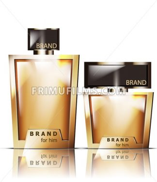 Golden perfume bottles Vector. Product packaging realistic detailed 3d illustration. Luxury gold fragrances - frimufilms.com