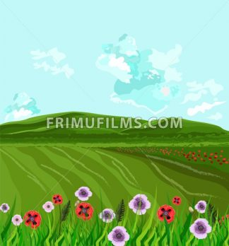 Green fields Vector. Spring background decor illustration - frimufilms.com