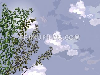 Green tree over dark sky background Vector illustration - frimufilms.com
