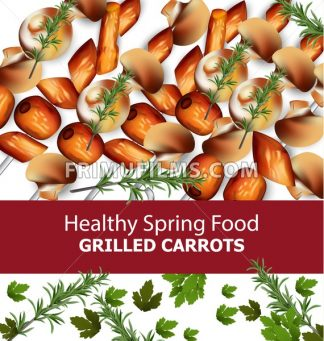 Grilled carrots Vector. Menu template realistic illustrations - frimufilms.com