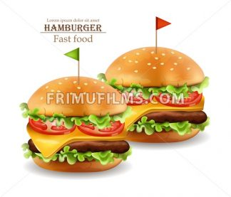 Hamburgers Vector realistic. Cheese and tomatoes. 3d Detailed illustration - frimufilms.com