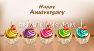Happy Anniversary Cupcakes card Vector realistic. 3d illustration - frimufilms.com