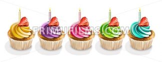 Happy Anniversary Cupcakes isolated Vector realistic. 3d illustration - frimufilms.com