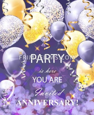 Happy Anniversary card with balloons. Festive party background realistic Vector illustration - frimufilms.com
