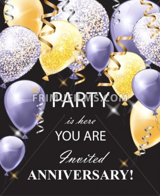 Happy Anniversary card with shinny balloons. Festive party background realistic Vector illustration - frimufilms.com