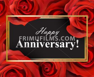 Happy Anniversary red roses background. Vector realistic flowers card - frimufilms.com