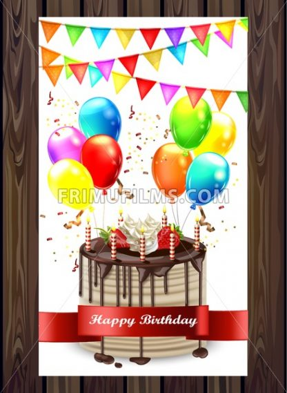 Happy Birthday cake with balloons and confetti Vector. Invitation card 3d detailed illustration - frimufilms.com