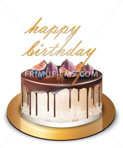 Happy Birthday cake with fig fruits Vector. Delicious dessert sweet design - frimufilms.com