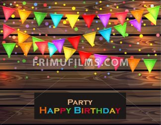 Happy Birthday card with colorful confetti decor. Vector illustration - frimufilms.com