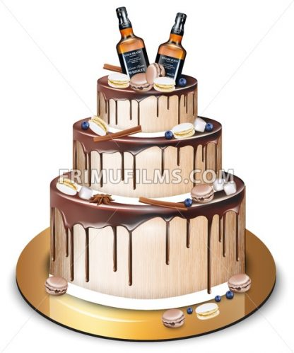 Happy Birthday delicious cake Vector. Whiskey bottles and macaroons decor. Modern sweets design - frimufilms.com