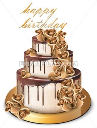 Happy Birthday golden cake Vector. Delicious dessert with gold roses flowers sweet design - frimufilms.com