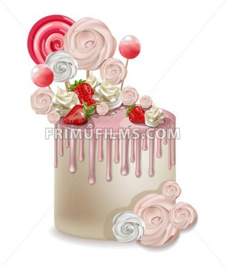 Happy Birthday pink cake Vector realistic. Lollipops and meringues on top. 3d detailed illustration - frimufilms.com