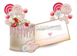 Happy Birthday pink cake Vector realistic. Lollipops and meringues on top. 3d detailed illustrations - frimufilms.com