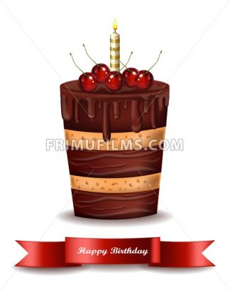 Happy Brithday cake Vector. Chocolate cake with cherries on top - frimufilms.com
