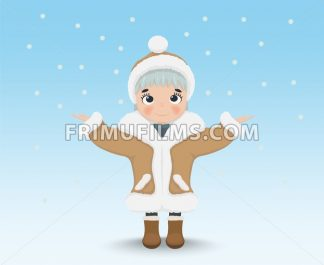 Happy Cute little girl Vector. Cartoon character, winter snowing background - frimufilms.com