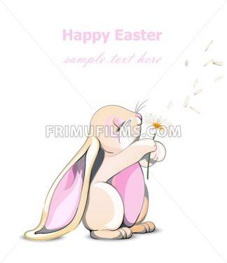 Happy Easter bunny card Vector. Cute rabbit holding dandelions Cartoon character - frimufilms.com