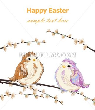Happy Easter card with Cute Little sparrows pattern Vector. Vintage retro spring background - frimufilms.com