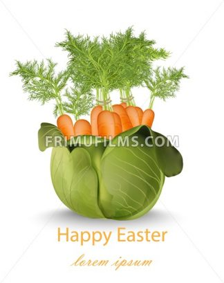 Happy Easter card with carrots bouquet Vector illustration - frimufilms.com
