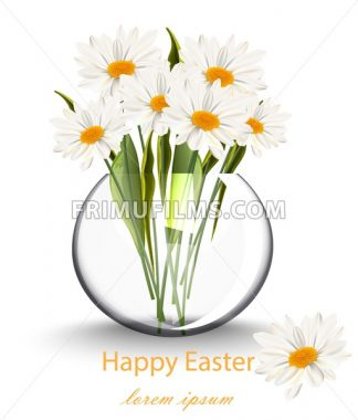 Happy Easter card with chamomile flowers bouquet Vector illustration - frimufilms.com