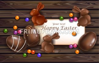 Happy Easter card with chocolate bunny and eggs. Vector 3d realistic illustration - frimufilms.com