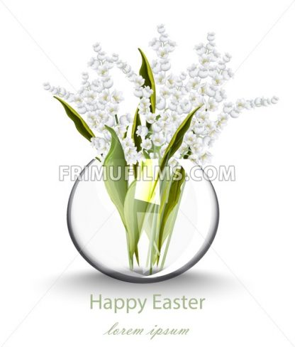 Happy Easter card with lily of the valley floral bouquet. Vector holiday illustration - frimufilms.com