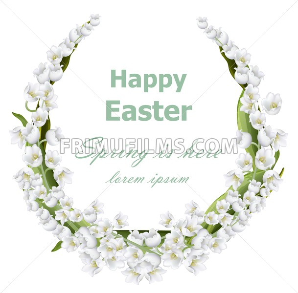 Happy Easter card with lily of the valley floral wreath frame. Vector holiday illustration - frimufilms.com