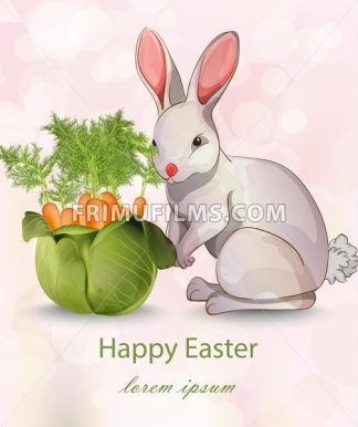 Happy Easter card with rabbit and carrots Vector. Green vase bouquet - frimufilms.com