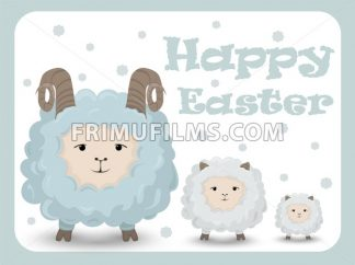 Happy Easter card with sheep Vector. Holiday background - frimufilms.com