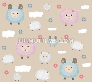 Happy Easter card with sheep Vector. Holiday pattern background - frimufilms.com