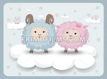 Happy Easter card with sheep couple Vector. Holiday background - frimufilms.com