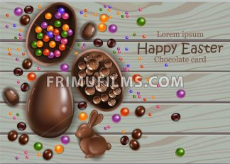 Happy Easter chocolate eggs card. Vector 3d realistic illustration. top view, wooden background - frimufilms.com