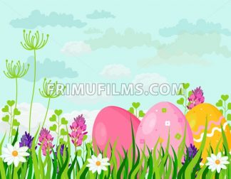 Happy Easter eggs card Vector. holiday green background and butterflies illustration - frimufilms.com